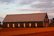 Barns in San Juan y Martinez, Pinar del Rio, Cuba with warm evening light.