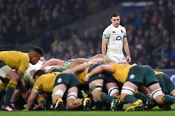 George Ford of England watches a scrum - Mandatory byline: Patrick Khachfe/JMP - 07966 386802 - 18/11/2017 - RUGBY UNION - Twickenham Stadium - London, England - England v Australia - Old Mutual Wealth Series International