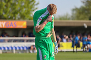 AFC Wimbledon goalkeeper Aaron Ramsdale (35) with shirt over face during the EFL Sky Bet League 1 match between AFC Wimbledon and Bristol Rovers at the Cherry Red Records Stadium, Kingston, England on 19 April 2019.