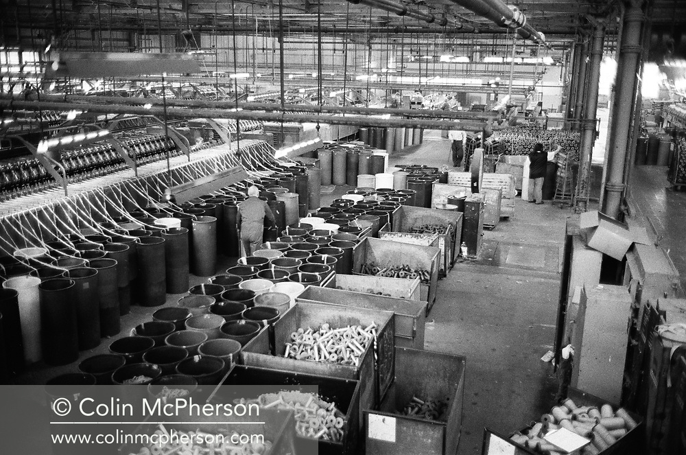 An overview of the mill floor at Tay Spinners mill in Dundee, Scotland. This factory was the last jute spinning mill in Europe when it closed for the final time in 1998. The city of Dundee had been famous throughout history for the three 'Js' - jute, jam and journalism.