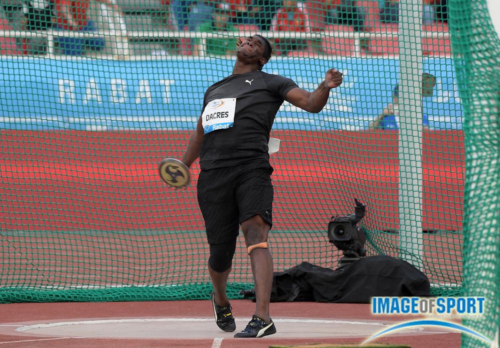 Jun 16, 2019; Rabat, Morocco; Fedrick Dacres (JAM) wins the discus in a IAAF Diamond League record 232-3 (70.78m) during the Meeting International Mohammed VI d'Athletisme de Rabat at Prince Moulay Abdellah Stadium.