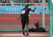 Jun 16, 2019; Rabat, Morocco; Fedrick Dacres (JAM) wins the discus in a IAAF Diamond League record 232-3 (70.78m) during the Meeting International Mohammed VI d'Athletisme de Rabat at Prince Moulay Abdellah Stadium.