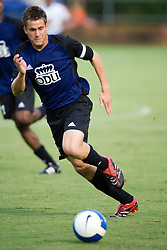 Old Dominion Monarchs defender Ollie Lutton (5) in action against UVA.  The Virginia Cavaliers defeated the Old Dominion Monarchs 3-0 in a pre-season NCAA Men's Soccer exhibition game held at Klockner Stadium on the Grounds of the University of Virginia in Charlottesville, VA on August 23, 2008.