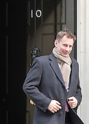 © Licensed to London News Pictures. 18/03/2015. Westminster, UK Jeremy Hunt, Secretary of State for Health,  leaves Downing Street on the day of the spring budget 2015. Photo credit : Stephen Simpson/LNP