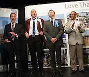 Craig Mackinlay (2R) reacts after being announced as the winner of the 20156 General electionThanet South count at the Winter Gardens, Margate, Kent, 8th May 2015.