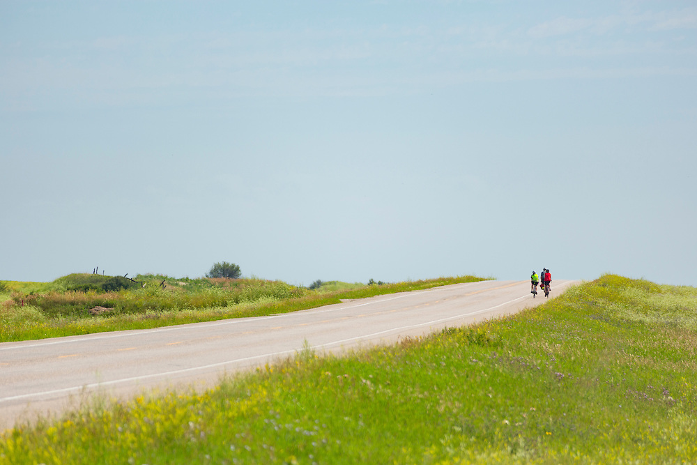 Cyclists at rest stop on Highway 14, between Perdue and Asquith.
