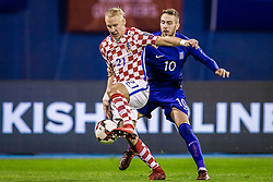 Domagoj Vida of Croatia and Kostas Fortounis of Greece during the football match between National teams of Croatia and Greece in First leg of Playoff Round of European Qualifiers for the FIFA World Cup Russia 2018, on November 9, 2017 in Stadion Maksimir, Zagreb, Croatia. Photo by Ziga Zupan / Sportida