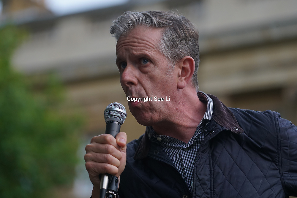 London, England, UK. 28th September 2017. Speaker Chris Nineham of Stop the War Coalition protest and rally to demand Theresa May to Stop Trump and Kim Jong-Un Nuclear threat call for a peaceful solution.