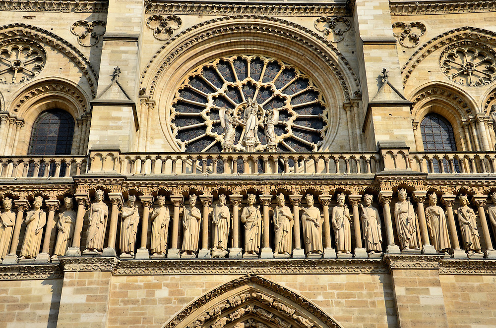 Notre-Dame Cathedral Gallery of Kings Statues in Paris, France<br />
