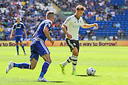 Lasse Vigen Christensenon the ball for Fulham  during the Sky Bet Championship match between Cardiff City and Fulham at the Cardiff City Stadium, Cardiff, Wales on 8 August 2015. Photo by Shane Healey.