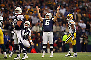 IRVING, TX - NOVEMBER 29: Place kicker Nick Folk #6 of the Dallas Cowboys raises his arms signaling that his field goal attempt is good, giving the Cowboys a 6-3 lead, during the game against the Green Bay Packers on November 29, 2007 at Texas Stadium in Irving, Texas. The Cowboys defeated the Packers 37-27. ©Paul Anthony Spinelli *** Local Caption *** Nick Folk