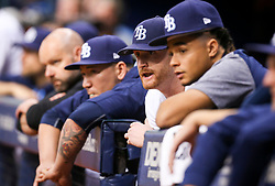 September 16, 2017 - St. Petersburg, Florida, U.S. - WILL VRAGOVIC       Times.Tampa Bay Rays starting pitcher Alex Cobb (53) talks with starting pitcher Chris Archer (22) in the dugout during the sixth inning of the game between the Boston Red Sox and the Tampa Bay Rays at Tropicana Field in St. Petersburg, Fla. on Saturday, Sept. 16, 2017. (Credit Image: © Will Vragovic/Tampa Bay Times via ZUMA Wire)