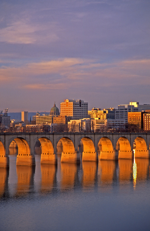 Harrisburg skyline, Susquehanna River, Railroad Bridge Arches