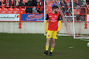 Fleetwood Town forward Ched Evans (9) on loan from Sheffield United, warms up before the EFL Sky Bet League 1 match between Accrington Stanley and Fleetwood Town at the Fraser Eagle Stadium, Accrington, England on 30 March 2019.