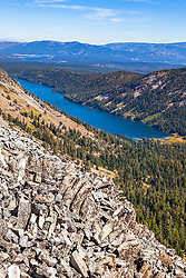 """Independence Lake, CA 4"" - Photograph of Independence Lake, taken from above the lake."