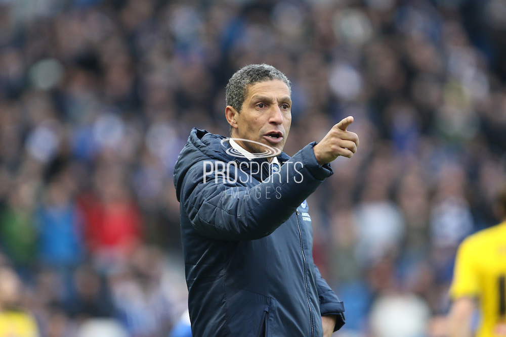 Brighton Manager Chris Hughton issues instructions in his first home game, during the Sky Bet Championship match between Brighton and Hove Albion and Brentford at the American Express Community Stadium, Brighton and Hove, England on 17 January 2015.