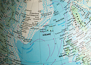 North west Europe map on a globe focused on Iceland and Greenland