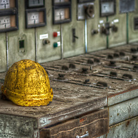 Workers hard hat in old abandoned paper mill in the Black forest