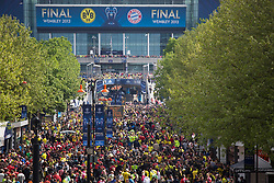 © licensed to London News Pictures. London, UK 25/05/2013. Football fans walking to Webley Stadium after clashes between Borussia Dortmund and Bayern Munich fans reported ahead of Champions League final in London. Photo credit: Tolga Akmen/LNP