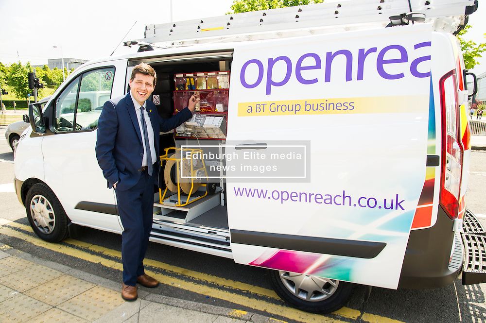 Pictured: Jamie Hepburn checks out the tidiest engineers van in the world<br /> <br /> Minister for employability and training, Jamie Hepburn MSP visted BT's Alexander Graham Bell House today and met engineering apprentices. as he announced the latest figures on modern apprenticeships. <br /> Ger Harley | EEm 7 June 2016
