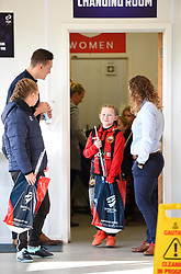 Young mascot beaming as she leaves the home dressing room after meeting Bristol City Women players - Mandatory by-line: Paul Knight/JMP - 17/11/2018 - FOOTBALL - Stoke Gifford Stadium - Bristol, England - Bristol City Women v Liverpool Women - FA Women's Super League 1
