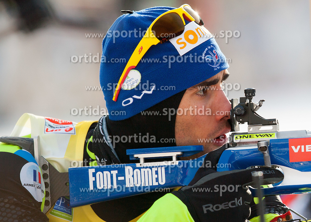 Fourcade Martin of France competes during Men 10 km Sprint of the e.on IBU Biathlon World Cup on Thursday, December 13, 2012 in Pokljuka, Slovenia. The third e.on IBU World Cup stage is taking place in Rudno polje - Pokljuka, Slovenia until Sunday December 16, 2012. (Photo By Vid Ponikvar / Sportida.com)
