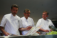 Restaurant Bras, Laguiole, in the Aubrac region, France..Sebastien and Michel Bras with Chef de Cuisine Regis.