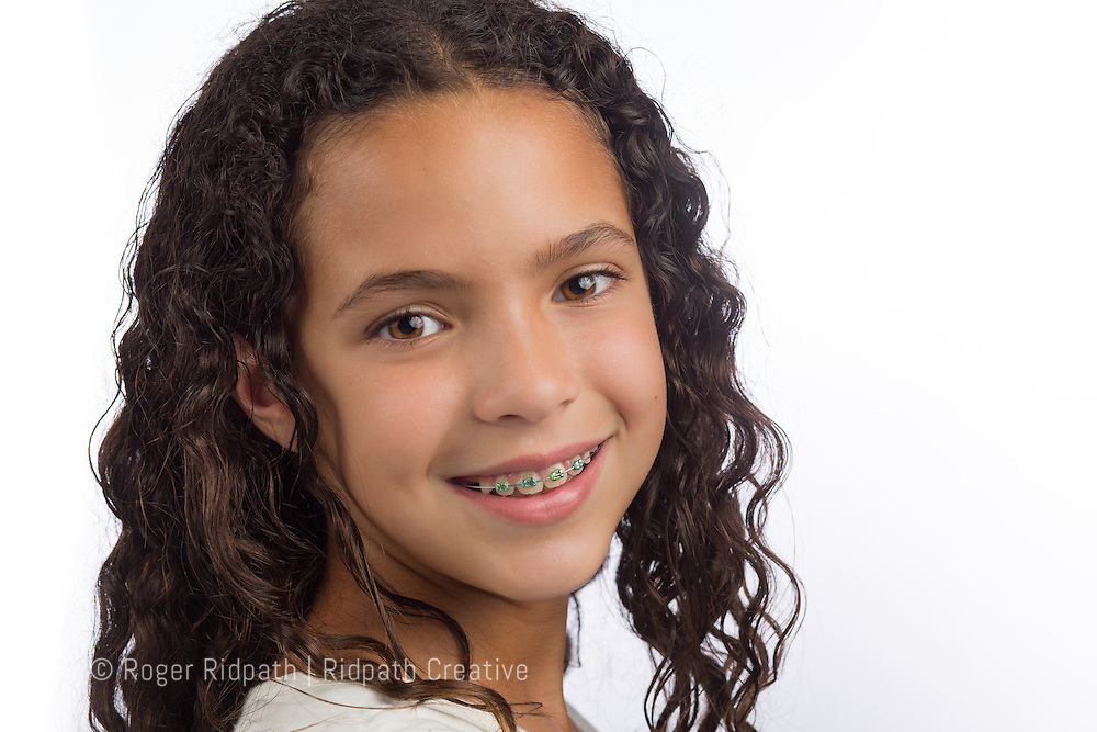 young girl with braces portrait