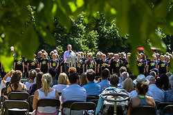 Hyde Park, London, July 7th 2017. A service is held as Londoners and survivors remember those lost in the Islamist terror attacks of July 7th 2005 at the Hyde Park Memorial, 12 years on.