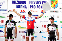 Winner Luka Pibernik of KK Radenska, second place for Jaka Bostner of KK Radenska and third place for Jan Polanc of KK Radenska after Slovenian National Championship Mirna Pec 2012, on June 24, 2012, in Mirna Pec, Slovenia. (Photo by Urban Urbanc / Sportida.com)