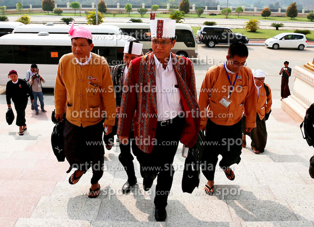 U Henry Van Htee Yu (C front) of Myanmar's ruling National League for Democracy (NLD) arrives at the Union Parliament in Nay Pyi Taw, Myanmar, March 15, 2016. U Htin Kyaw of Myanmar's ruling National League for Democracy (NLD), led by Aung San Suu Kyi, won the presidential election Tuesday with the highest number of votes through secret voting, becoming the country's new president for the next five-year term. According to the voting result, U Myint Swe from the military becomes First Vice President, while U Henry Van Htee Yu Second Vice President. EXPA Pictures © 2016, PhotoCredit: EXPA/ Photoshot/ U Aung<br /> <br /> *****ATTENTION - for AUT, SLO, CRO, SRB, BIH, MAZ, SUI only*****