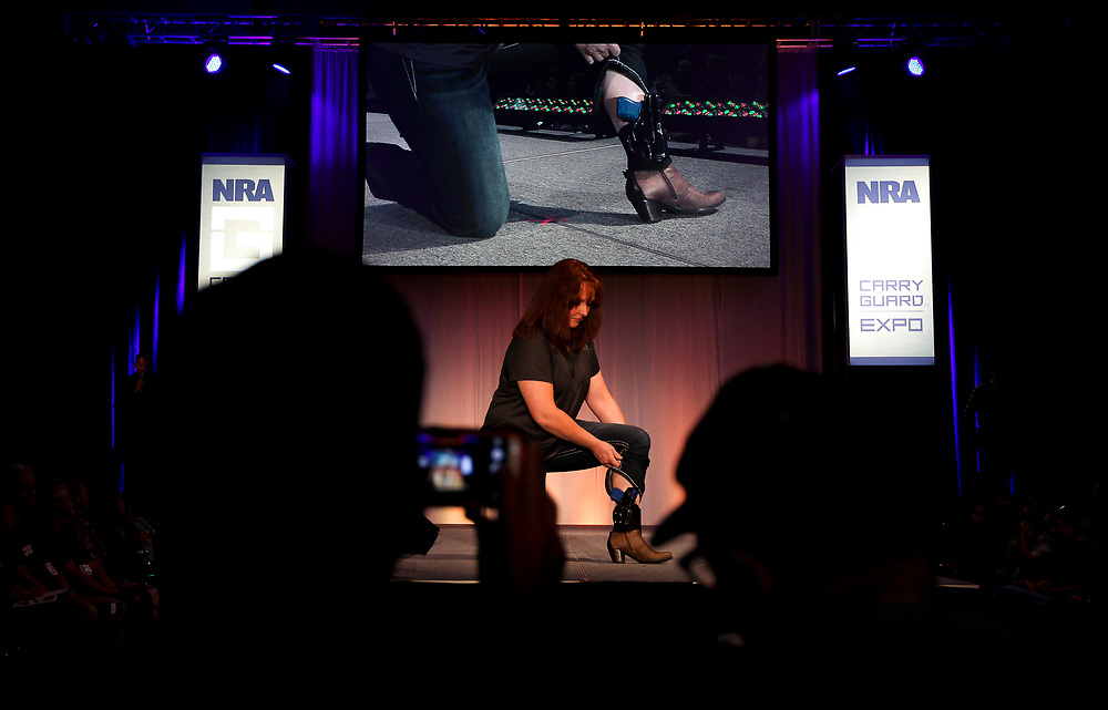 A model reveals a concealed ankle holster fashions during the National Rifle Association (NRA) Carry Guard Expo Fashion Show in Milwaukee, Wisconsin, U.S., August 25, 2017.   REUTERS/Ben Brewer
