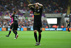 Joselu of Newcastle United looks dejected after his header is saved.  - Mandatory by-line: Alex James/JMP - 10/09/2017 - FOOTBALL - Liberty Stadium - Swansea, England - Swansea City v Newcastle United - Premier League
