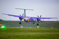 © Licensed to London News Pictures. 27/04/2019. Leeds UK. Aircraft like this Flybe from Dublin are starting to struggle with strong winds this morning at Leeds Bradford Airport as Storm Hannah hit's the UK. Photo credit: Andrew McCaren/LNP