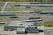 Aerial view of Railway yard outside of Montreal Canada.