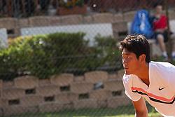June 16, 2018 - L'Aquila, Italy - Zhizhen Zhang during match between Zhizhen Zhang (CHN) and Manuel Sanchez (MEX) during day 1 at the Interzionali di Tennis Citt dell'Aquila (ATP Challenger L'Aquila) in L'Aquila, Italy, on June 16, 2018. (Credit Image: © Manuel Romano/NurPhoto via ZUMA Press)