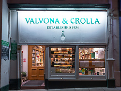 Exterior of Valvona & Crolla delicatessen shop on Elm Row in Edinburgh, Scotland UK.