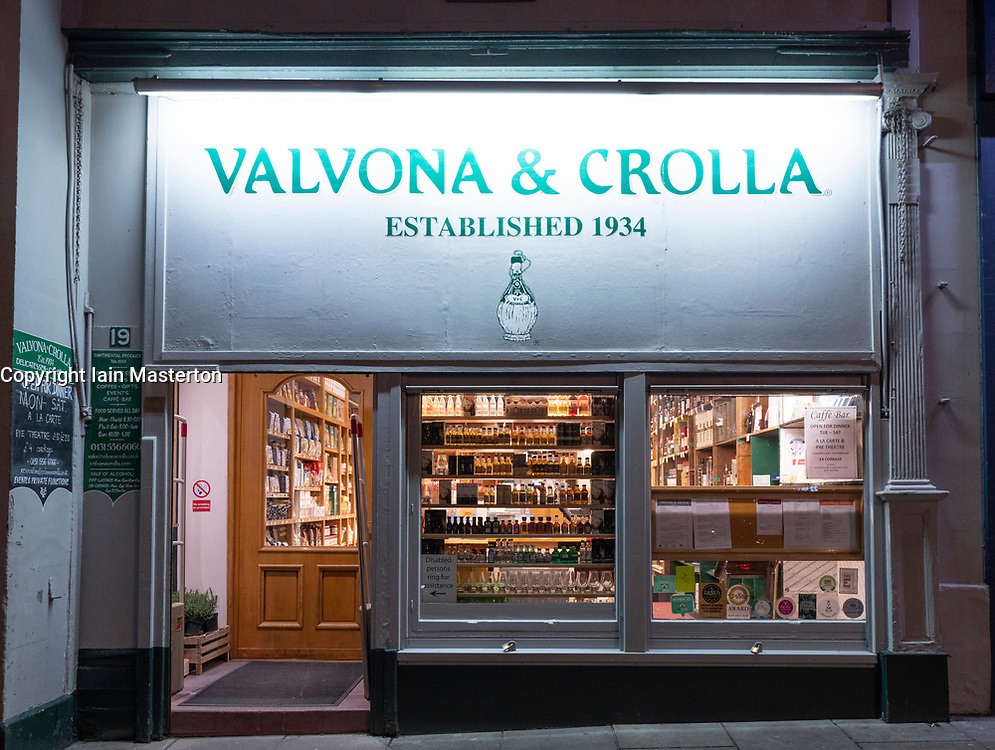 Exterior of Valvona & Crolla delicatessen shop on Elm Row in Edinburgh, Scotland UK.