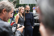 Fabio Volo and Johanna Maggy Hauksdottir arrive at Armani theatre where takes place Armani fashion show during annual Milan Fashion Week, Milan 23 Sept. 2016. © Carlo Cerchioli