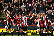Sheffield United celebrate goal scored by Sheffield United midfielder Paul Coutts (15) to go 1-0 during the EFL Sky Bet Championship match between Sheffield Utd and Reading at Bramall Lane, Sheffield, England on 21 October 2017. Photo by Ian Lyall.