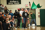 Rice fans cheer for Ben Shungu (not pictured) during the boys basketball game between the Essex Hornets and the Rice Green Knights at Rice Memorial high school on Tuesday night December 22, 2015 in South Burlington.(BRIAN JENKINS/for the FREE PRESS)