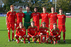 BANGOR, WALES - Friday, November 13, 2015: Wales' players line up for a team group photograph before the UEFA Under-21 Championship Qualifying Group 5 match against Armenia at Nantporth Stadium. Back row L-R: Joshua Yorwerth, Thomas O'Sullivan, goalkeeper Billy O'Brien, Ellis Harrison, Lee Evans, Thomas Lockyer, Liam Shephard. Front row L-R: Harry Wilson, Wesley Burns, captain Declan John, Joshua Sheehan. (Pic by Paul Currie/Propaganda)