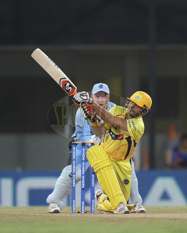 Suresh Raina of the Chennai Super Kings slog sweeps a delivery to be dropped on the boundary during match 18 of the NOKIA Champions League T20 ( CLT20 )between the Chennai Superkings  and The NSW Blues held at the M. A. Chidambaram Stadium in Chennai , Tamil Nadu, India on the 4th October 2011..Photo by Shaun Roy/BCCI/SPORTZPICS