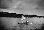 4..Tagbanua villagers cross bay to Coron Town on Busuanga Island, Philippines.