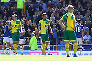 The Norwich players look dejected after conceding their side&rsquo;s 1st goal during the Barclays Premier League match at Goodison Park, Liverpool<br /> Picture by Paul Chesterton/Focus Images Ltd +44 7904 640267<br /> 15/05/2016