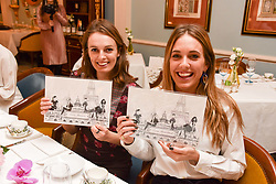 Left to right, Lady Violet Manners and Daisy Knatchbull at an afternoon tea in honour of Megan Hess hosted by Lady Violet Manners at The Lanesborough, Hyde Park Corner, London, England. 10 November 2017.
