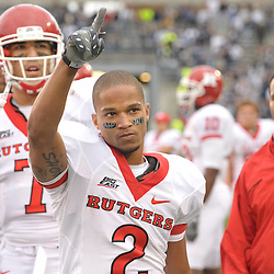 Oct 31, 2009; East Hartford, CT, USA; Rutgers wide receiver Tim Brown (2) points to Rutgers fans during the closing seconds of Rutgers' 28-24 victory over Connecticut in Big East NCAA college football at Rentschler Field.