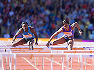 Tiffany Porter GBR(right) competing in the 100m hurdles with winner Dawn Harper Nelson USA during the IAAF  Diamond League Sainsbury's Birmingham Grand Prix at Alexander Stadium, Birmingham<br /> Picture by Alan Stanford/Focus Images Ltd +44 7915 056117<br /> 07/06/2015