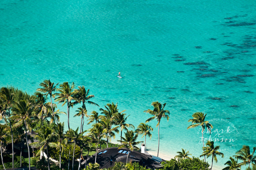 Palms and reef, Lanikai Beach, Oahu, Hawaii