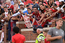 July 28, 2018 - Ann Arbor, MI, U.S. - ANN ARBOR, MI - JULY 28: Fans cheer and try to get the attention of Liverpool Forward Mohamed Salah (11) during the ICC soccer match between Manchester United FC and Liverpool FC on July 28, 2018 at Michigan Stadium in Ann Arbor, MI (Photo by Allan Dranberg/Icon Sportswire) (Credit Image: © Allan Dranberg/Icon SMI via ZUMA Press)